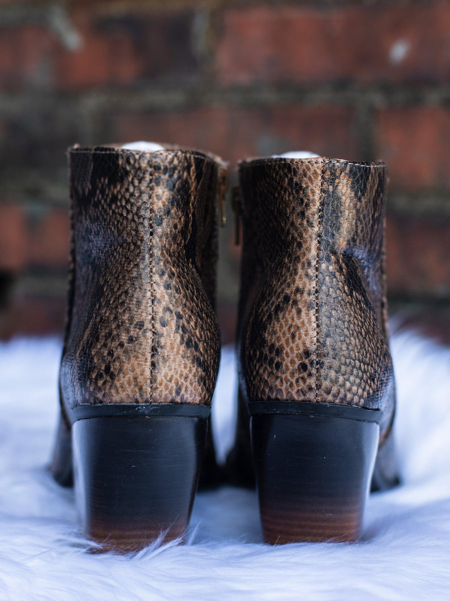 Snake Two Tone Tan Bootie