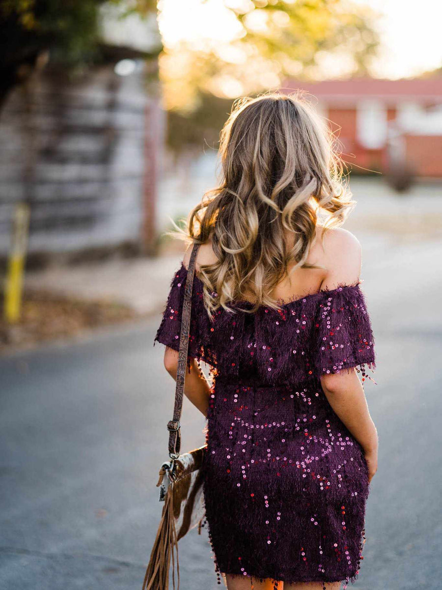 Off Shoulder Fuzzy Sequin Dress - Plum-Southern Fried Chics