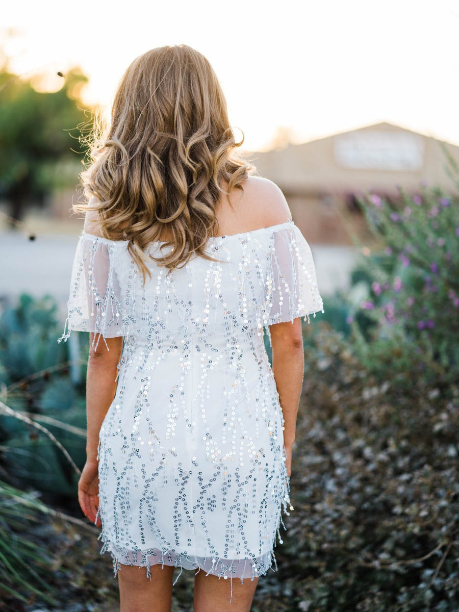 Off Shoulder Silver Sequin Dress - White-Southern Fried Chics