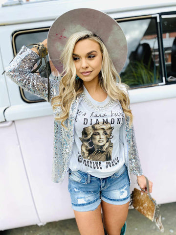 Out Of This World Zip Up Sequin Top-Southern Fried Chics