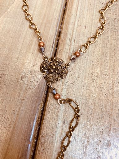 Filigree & Bling Cross Chain Necklace