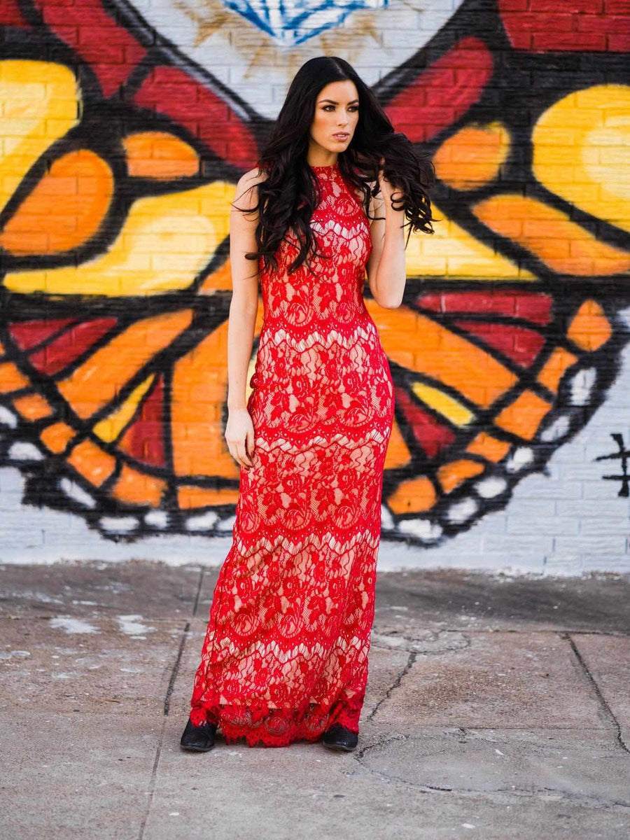 Red Hot Lace Dress - Red-Southern Fried Chics