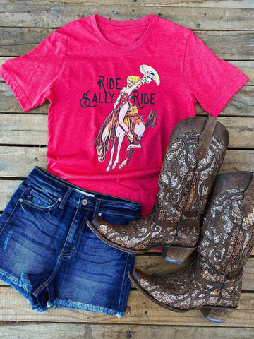 Ride Sally Ride Tee - Heather Red-Southern Fried Chics