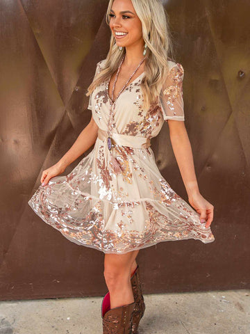 Catching Compliments Rose Gold Dress-Dresses-Southern Fried Chics