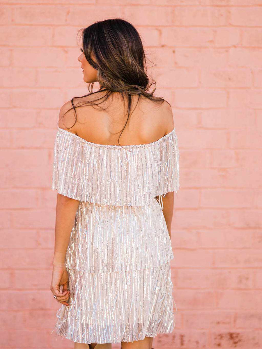 Shake It Up Off Shoulder Sequin Dress - Gold-Southern Fried Chics