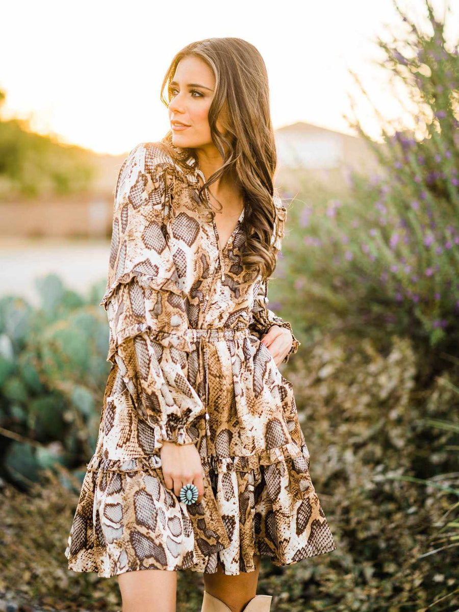 Snake Print Bohemian Dress - Brown-Southern Fried Chics