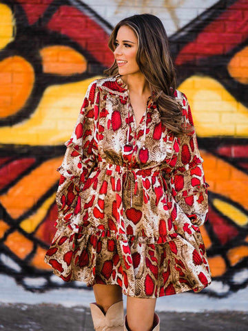 Snake Print Bohemian Dress - Red-Southern Fried Chics