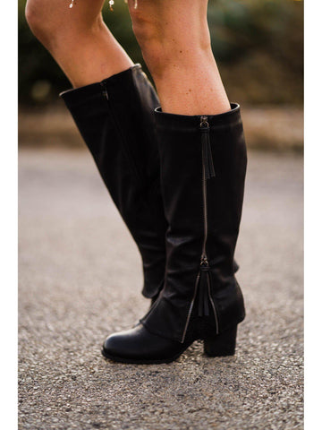Southern Sass Block Heel Boot Wide Calf - Black-Southern Fried Chics