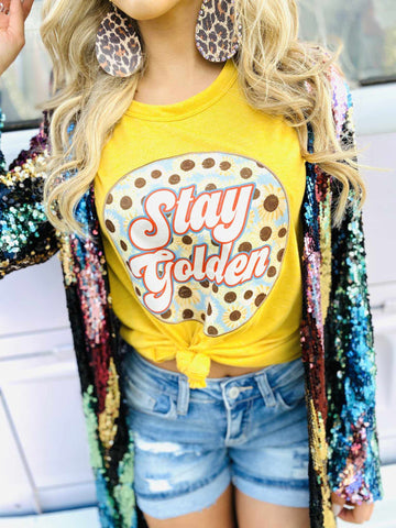 Stay Golden Patch Tee - Marigold-Southern Fried Chics