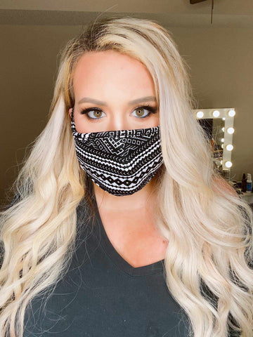 Stretchy Adult Face Mask - Aztec-Southern Fried Chics