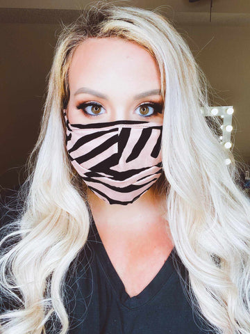 Stretchy Adult Face Mask - Black Mocha Zebra-Southern Fried Chics