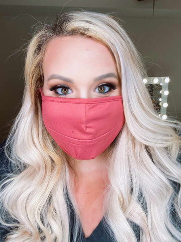 Stretchy Adult Face Mask - Dusty Pink-Southern Fried Chics