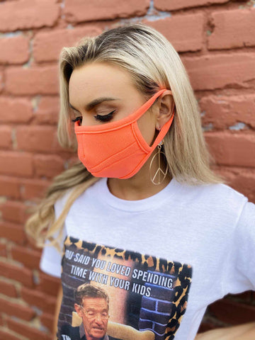 Stretchy Adult Face Mask - Neon Orange-Southern Fried Chics