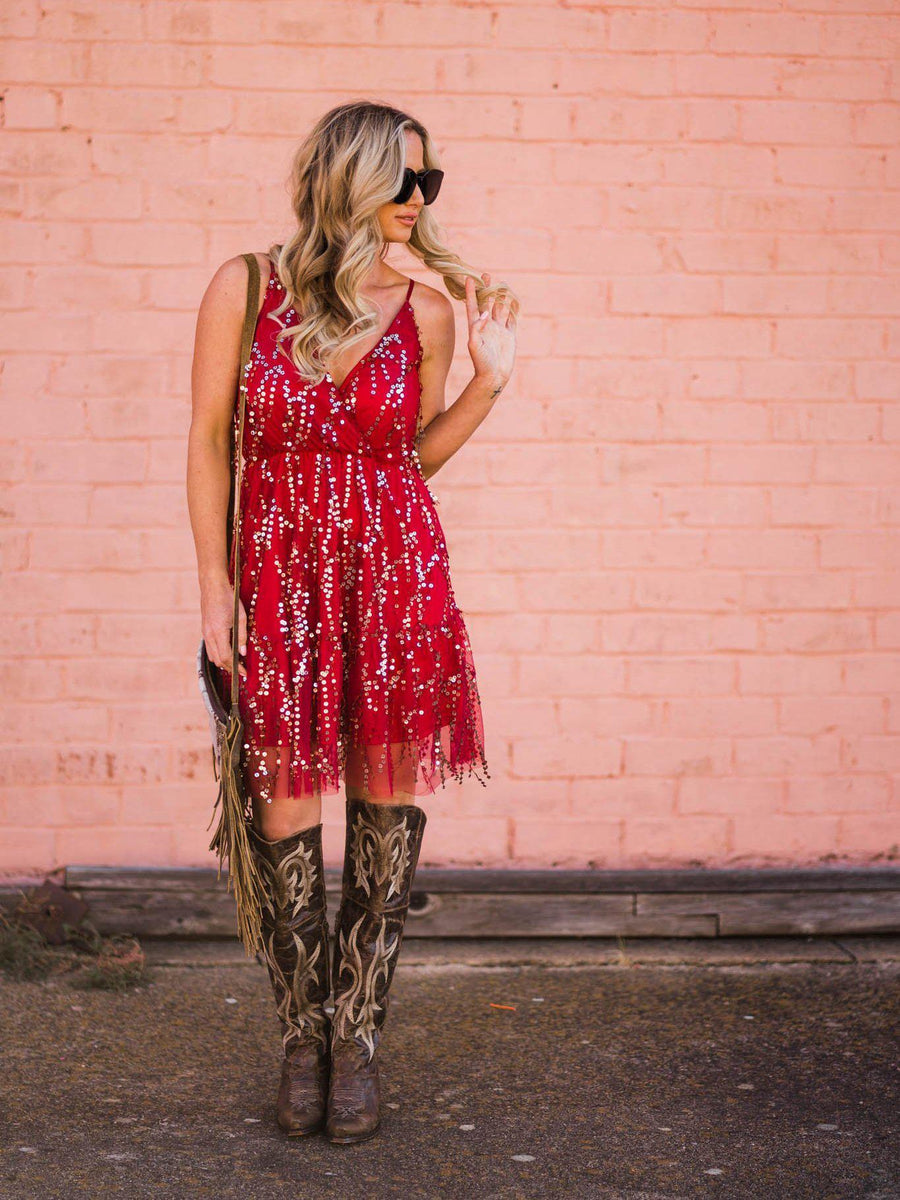 Tequila Little Time Shimmy Dress - Burgundy-Southern Fried Chics