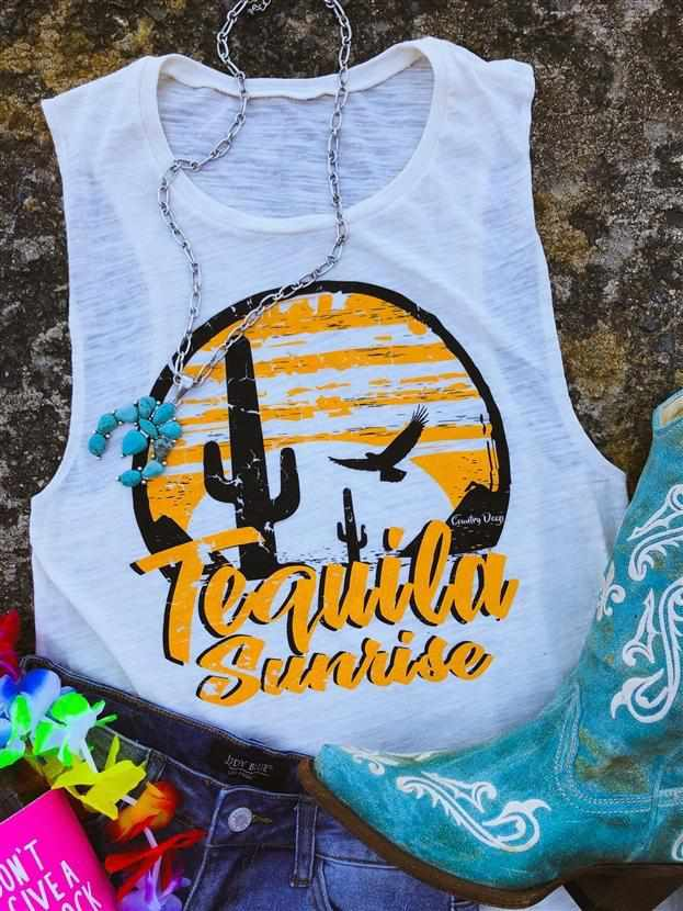 Tequila Sunrise Muscle Tank by Country Deep