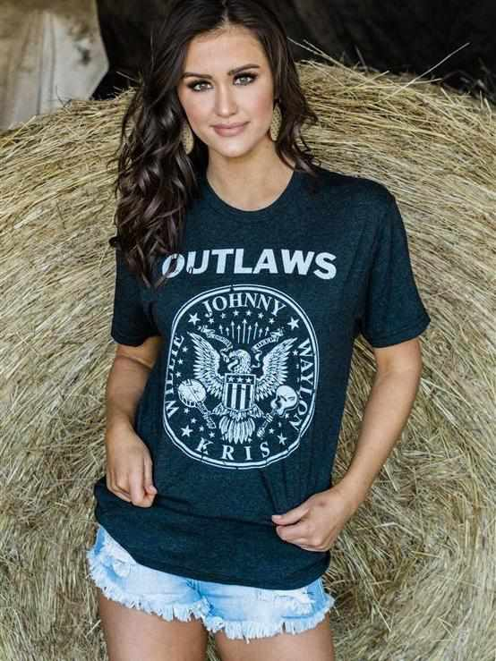 The Outlaws T-Shirt by Country Deep - Charcoal