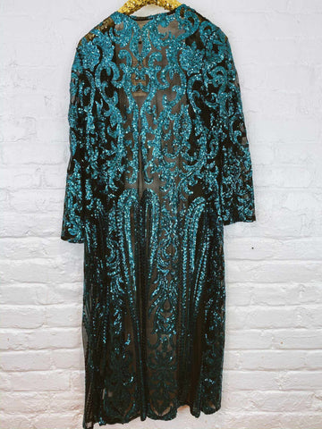 The Royal Sequin Duster - Aqua-Southern Fried Chics