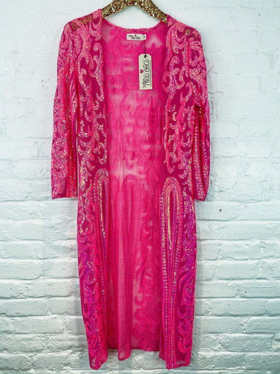 The Royal Sequin Duster - Hot Pink-Southern Fried Chics