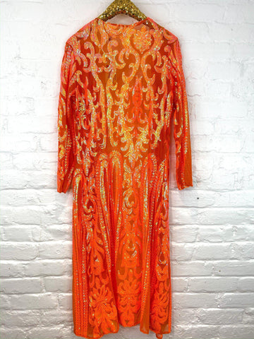 The Royal Sequin Duster - Neon Orange-Southern Fried Chics