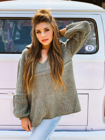 Urban Long Sleeve Chenille Sweater - Olive-Southern Fried Chics