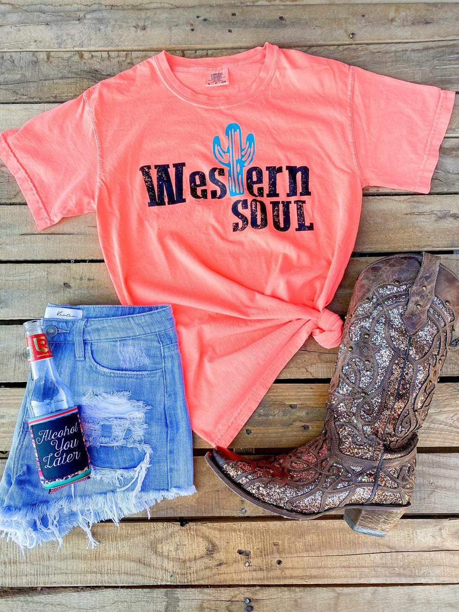 Western Soul Tee - Neon Coral-Southern Fried Chics