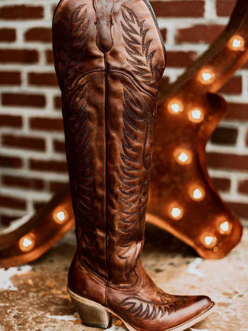 Cognac Embroidery Tall Top Boot by Corral-Southern Fried Chics