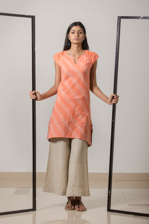 Nui Shibori Cotton Bias Grain Dress - Peach - noolbyhand.com