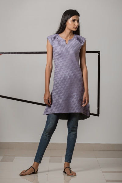Cotton-Linen Jacquard Bias Grain Dress - Lavender - noolbyhand.com