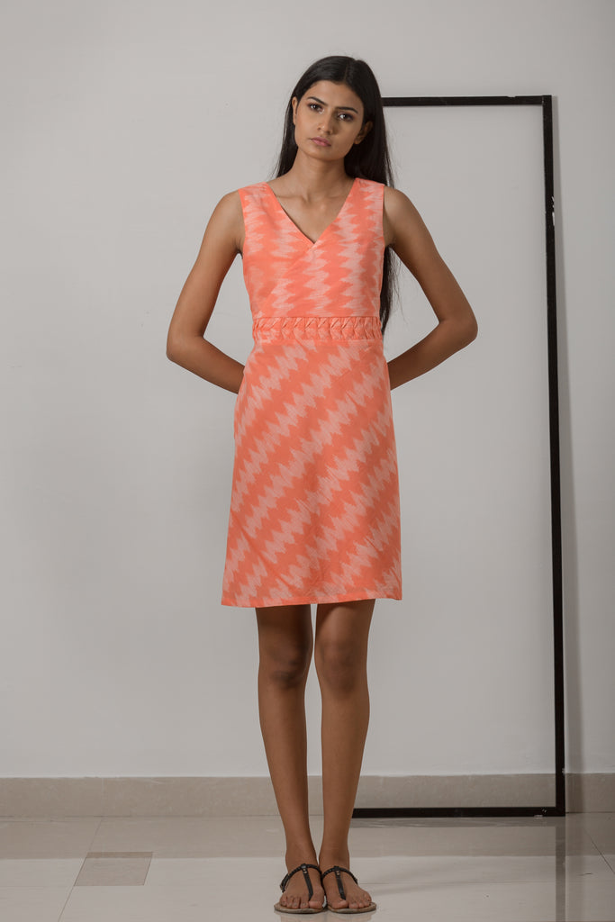 Nui Shibori Cotton Bias Dress - Peach