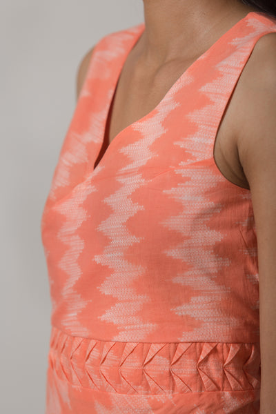 Nui Shibori Cotton Bias Dress - Peach - noolbyhand.com