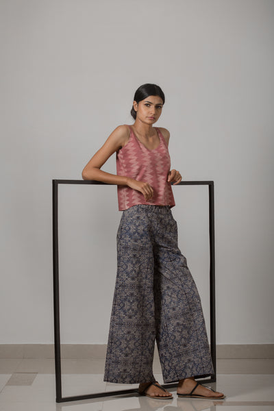 Block Printed Cotton Wide Leg Pant - Indigo - noolbyhand.com