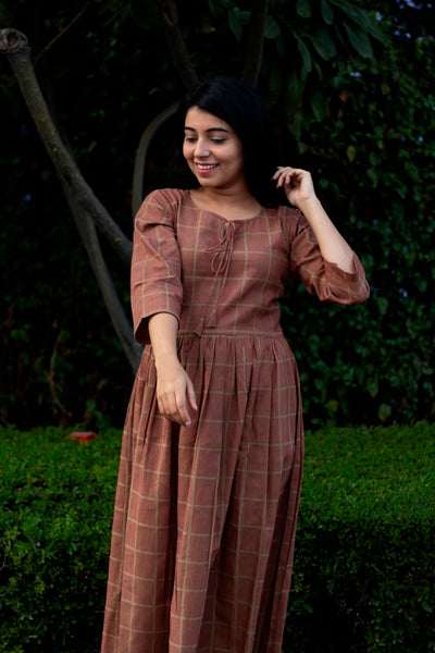 Checked Brown Cotton Dress - noolbyhand.com