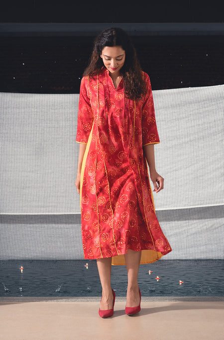 Suchi Denim Gold Printed Kurta