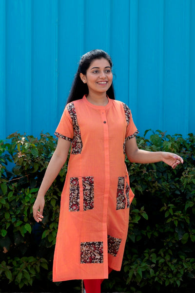 Orange Cotton Kurta With Kalamkari Print - noolbyhand.com