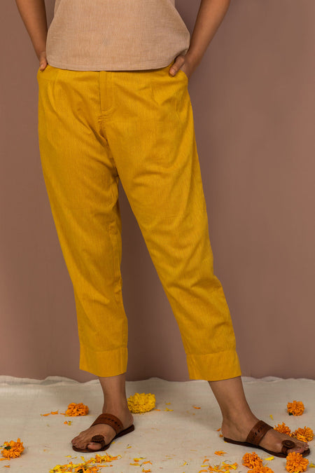 Red Cotton Dobby Straight Pant