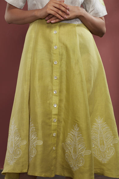 Embroidered Cotton-Linen Dress - Green - noolbyhand.com