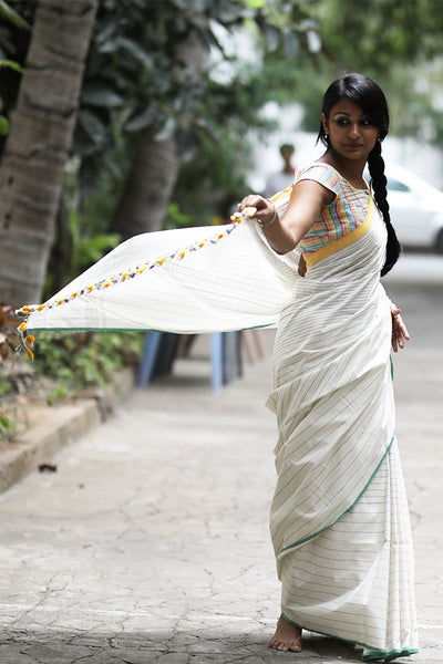 Grey Stripes Saree (Cotton) - noolbyhand.com