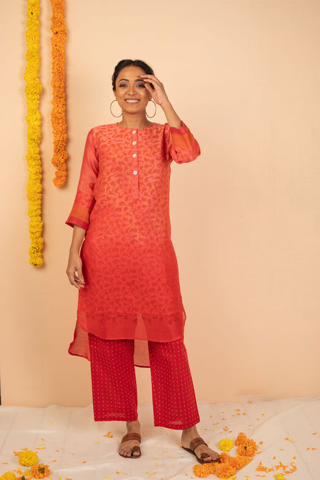 Red Ombre Chanderi Silk Block Printed Kurta with Cotton Pant and Embroidered Tissue Silk Dupatta - Set of 3