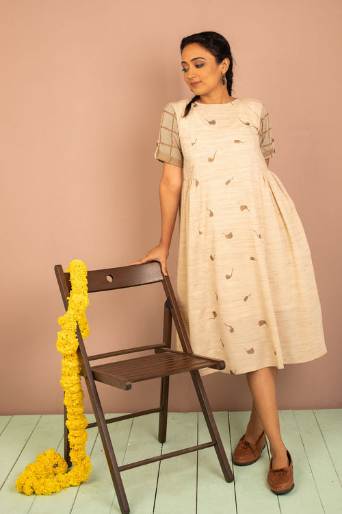 Natural Beige Cotton Embroidered Dress - noolbyhand.com
