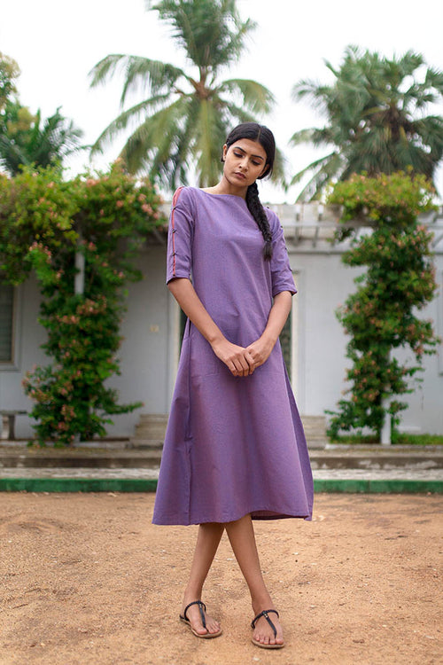 Vyola - Violet Back Flared Dress