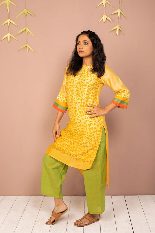 Yellow Ombre Chanderi Silk Block Printed Kurta with Cotton Pant - Set of 2 - noolbyhand.com