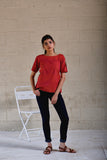 Indra Red Cold Shoulder Top - noolbyhand.com