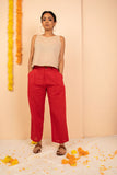Red Cotton Dobby Straight Pant - noolbyhand.com