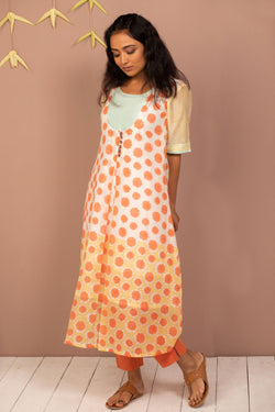 Orange Chanderi Silk Block Printed Kurta - noolbyhand.com