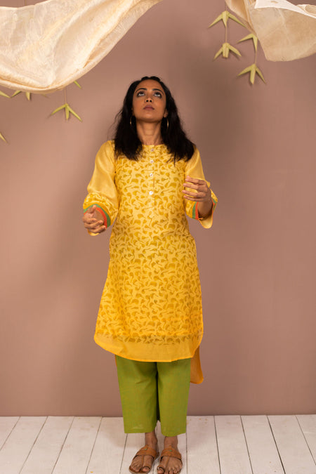 Violet Frill Cotton Long Kurta