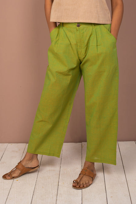 Yellow Cotton Chambray Tapered Pant