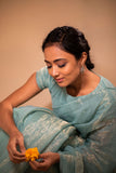 Celestial Blue Scalloped Tissue Silk Saree with blouse - noolbyhand.com