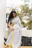 Linen Grey Colour Saree - noolbyhand.com