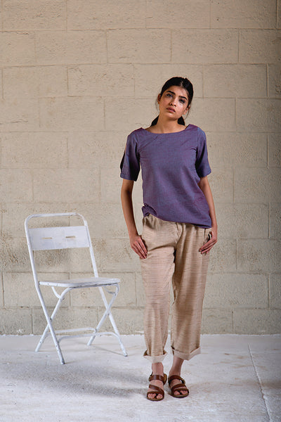 Indra Violet Cold Shoulder Top - noolbyhand.com