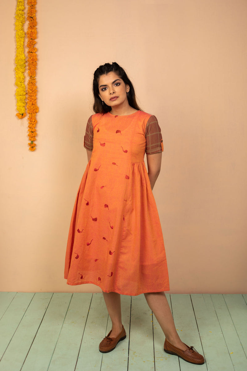 Orange Cotton Chambray Embroidered Dress - noolbyhand.com